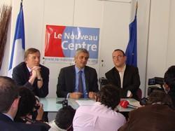 Yvan LACHAUD et Damien ABAD, aux côtés d'Hervé MORIN en conférence de presse
